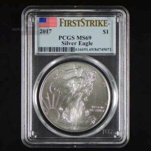 "2017 Silver American Eagle 1 oz Sølv PCGS MS69 ""First Strike"""
