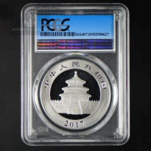 "2017 Kina 30 Gram Sølv Panda PCGS MS69 ""First Strike"" Blue Tag"