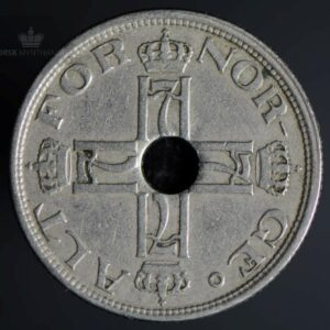 1923 50 Øre Med Hull Kv 1