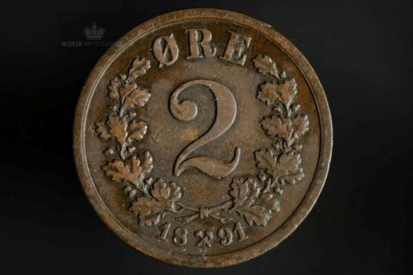 1891 2 Øre Kv 1/1+