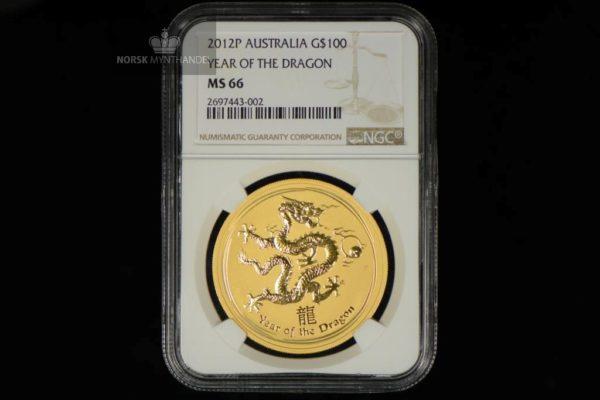 2012 Australia 1 oz Gull Lunar Year of the Dragon NGC MS66