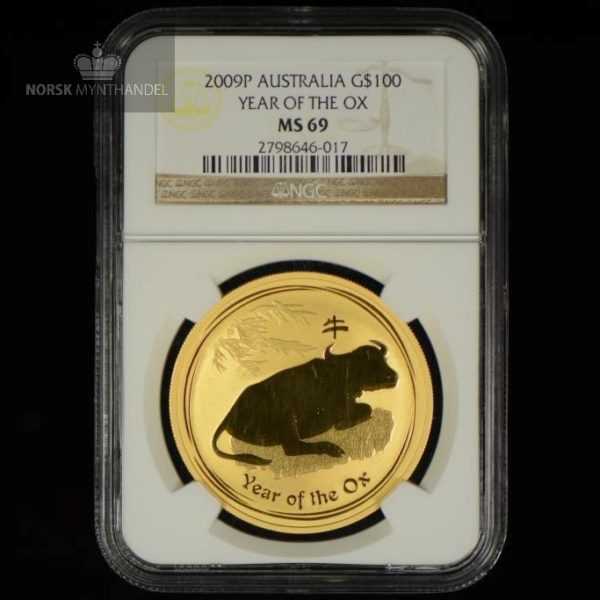 2009 Australia 1 oz Gull Lunar Year of the Ox NGC MS69