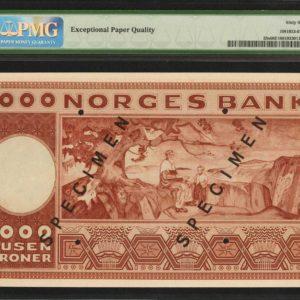 1949 Norge 1000 Kroner Specimen SSS Seddel Kv 0 / 66 EPQ