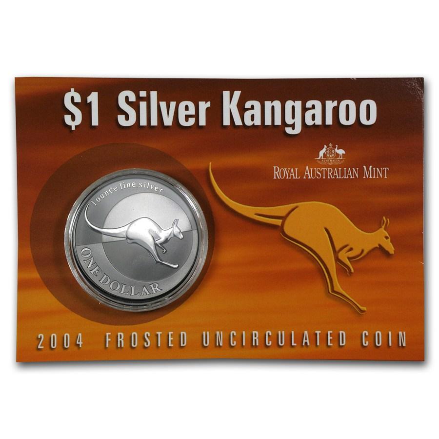 2004 Australia 1 oz Sølv Kangaroo BU (Display kort)