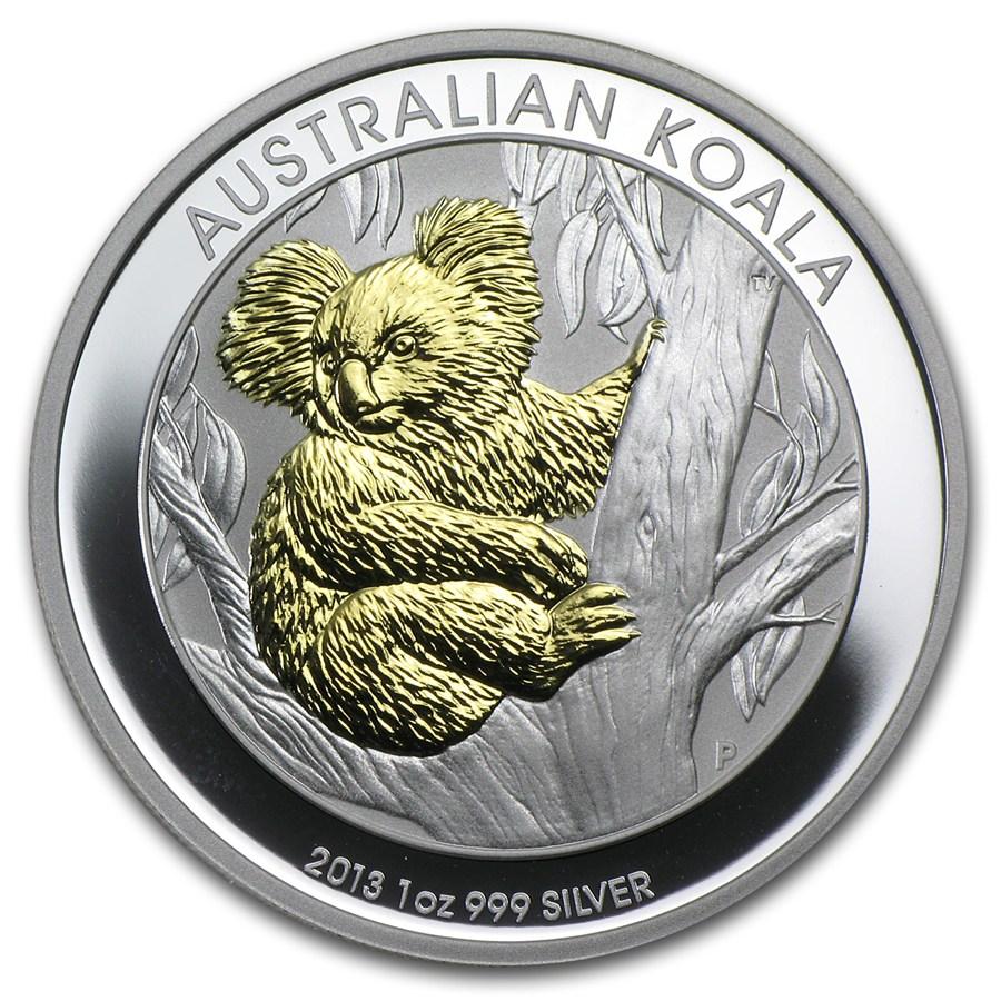2013 Australian Silver Koala 1 oz Gilded BU