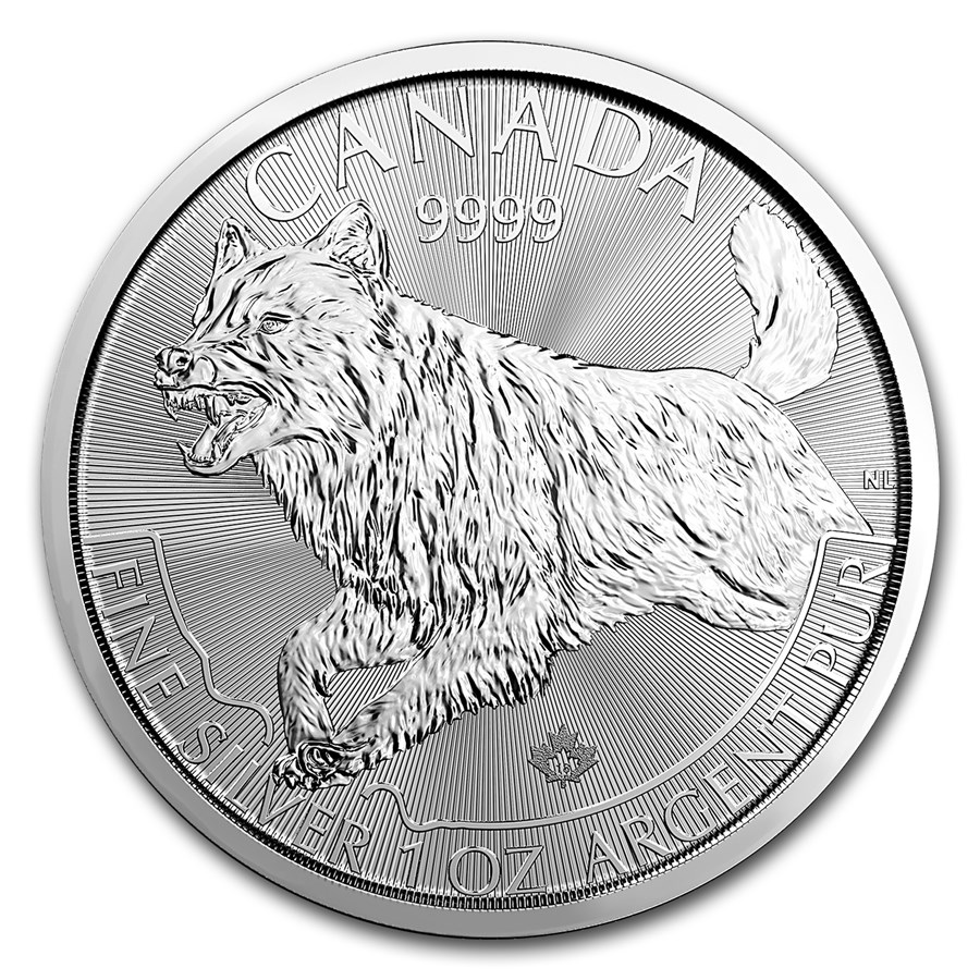 "2018 Kanada 1 oz Sølvmynt Predator Serie ""Wolf"" BU"
