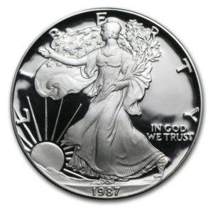 1987-S American 1 oz Silver Eagle Proof M/Etui & COA