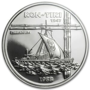 "1988 Samoa 50 Tala 1 oz Palladium ""Kon-Tiki"" Proof"