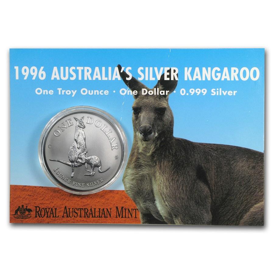 1996 Australia 1 oz Sølv Kangaroo BU (Display kort)