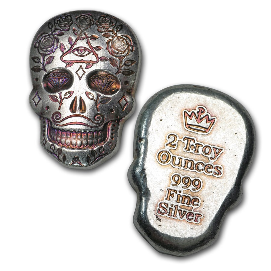 2 oz Sølv Skull - Day of the Dead: All Seeing Eye Håndstøpt