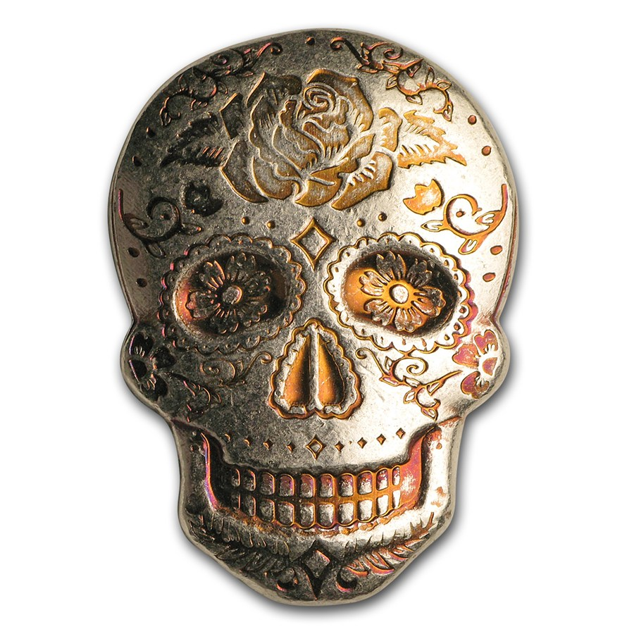 2 oz Sølv Skull - Day of the Dead: Rose Håndstøpt