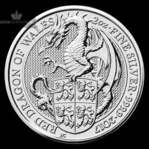 "2017 Storbritannia 2 oz Sølv ""Queen`s Beasts - The Dragon"" BU"
