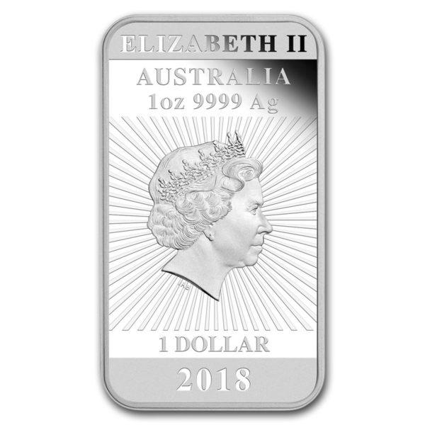 2018 Australia 1 oz Sølv Dragon Coin Bar Proof