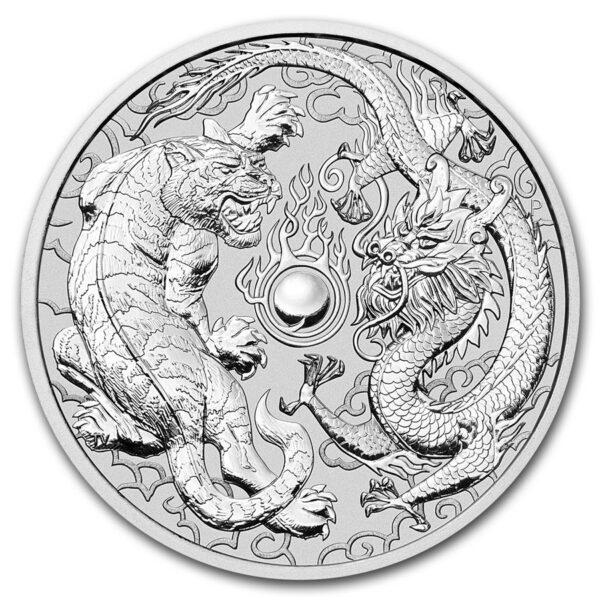 2018 Australia 1 oz Sølv Dragon & Tiger BU
