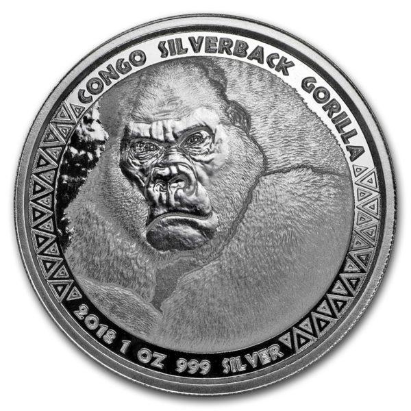 2018 Kongo 1 oz Sølvmynt