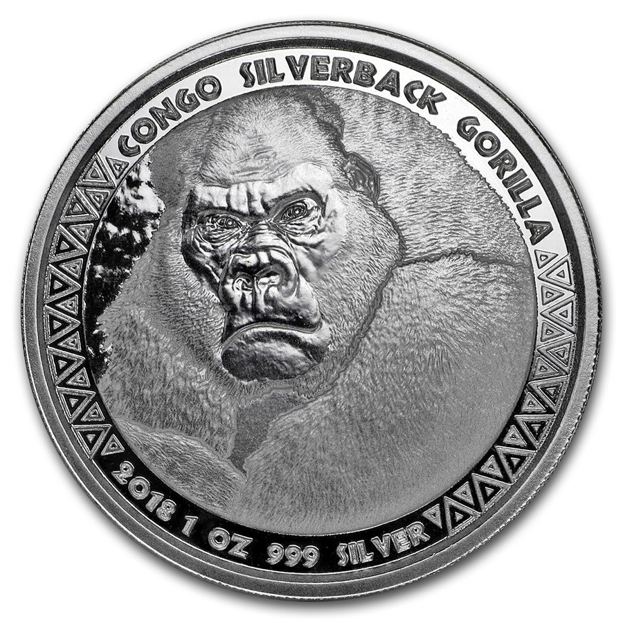"2018 Kongo 1 oz Sølvmynt ""Silverback Gorilla"" BU"