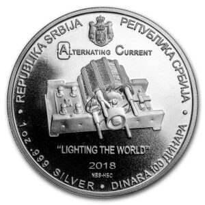 "2018 Serbia 1 oz Sølv ""Nikola Tesla"" BU m/Kapsel"