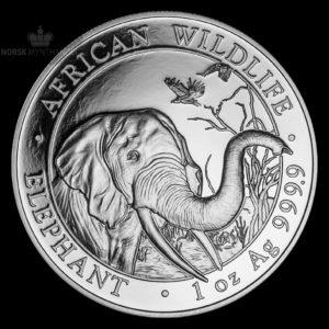 2018 Somalia 1 oz Sølv African Elephant BU