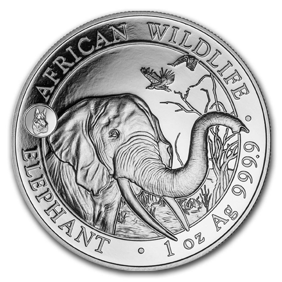 2018 Somalia 1 oz Sølv African Elephant BU Dog Privy