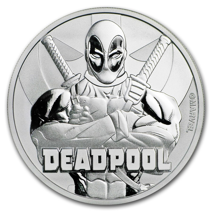 2018 Tuvalu 1 oz Sølv Marvel Series Deadpool™ BU