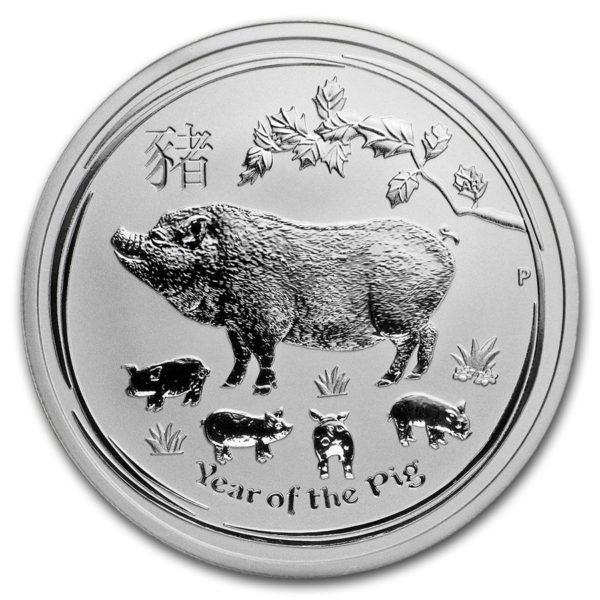 2019 Australia 1/2 oz Sølv Lunar Year of the Pig BU