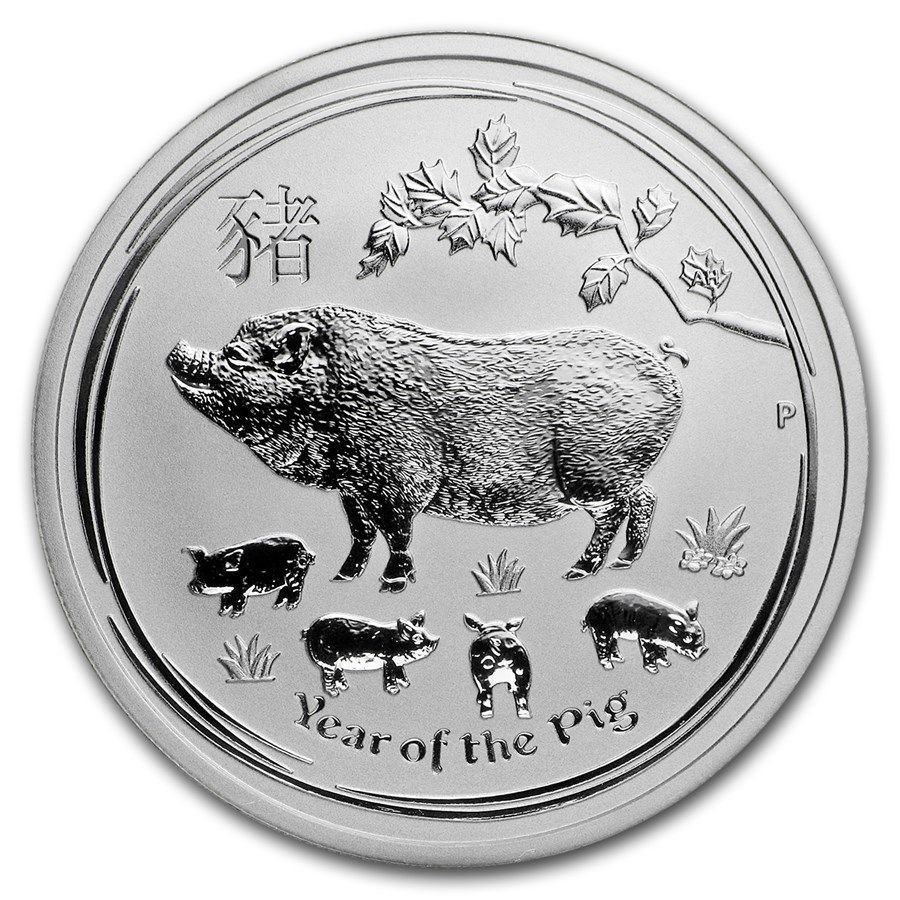 2019 Australia 1/2 oz Sølv Lunar Year of the Pig BU