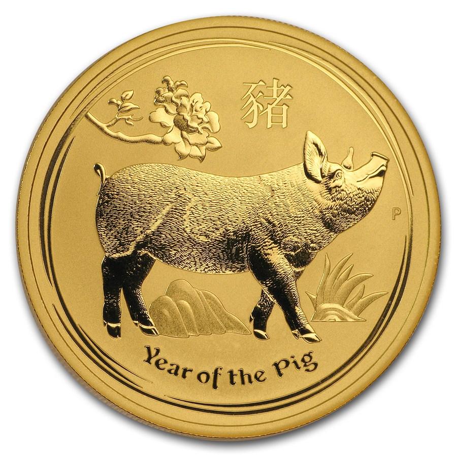 2019 Australia 1 oz Gull Lunar Year of the Pig BU