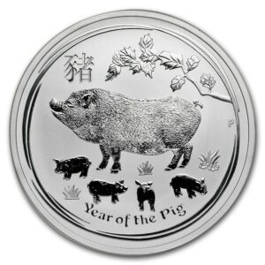 2019 Australia 1 oz Sølv Lunar Year of the Pig BU