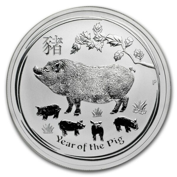 2019 Australia 1 oz Sølv Lunar Year of the Pig BU