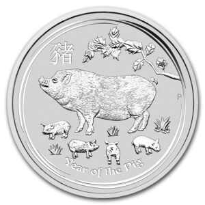 2019 Australia 10 oz Sølv Lunar Year of the Pig BU