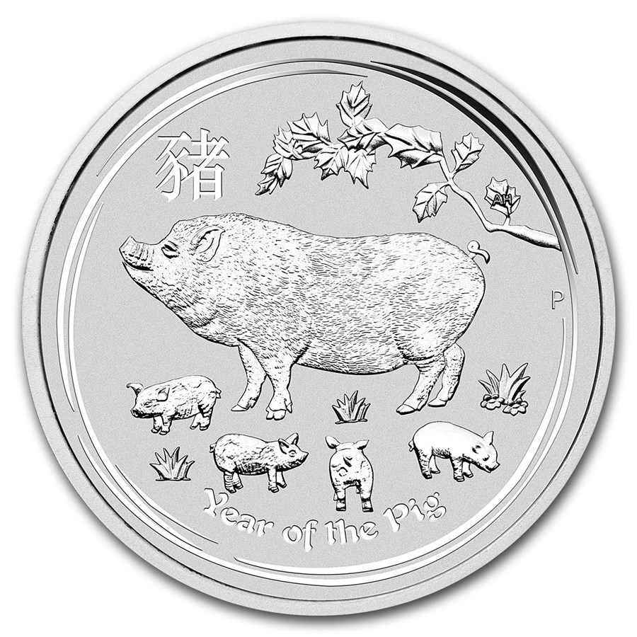 2019 Australia 2 oz Sølv Lunar Year of the Pig BU