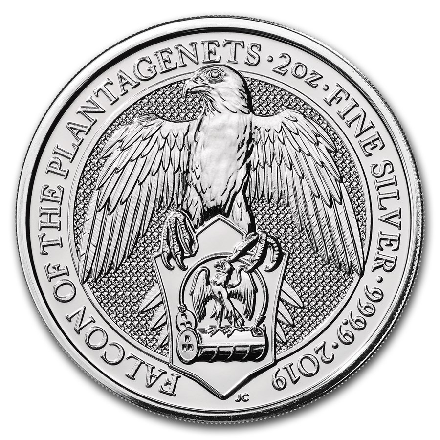 "2019 Storbritannia 2 oz Sølv ""Queen`s Beasts - The Falcon"" BU"