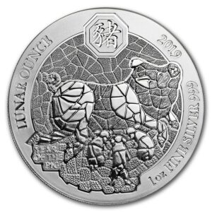 "2019 Rwanda 1 oz Sølv Lunar ""Year of the Pig"" BU ""Sealed"""