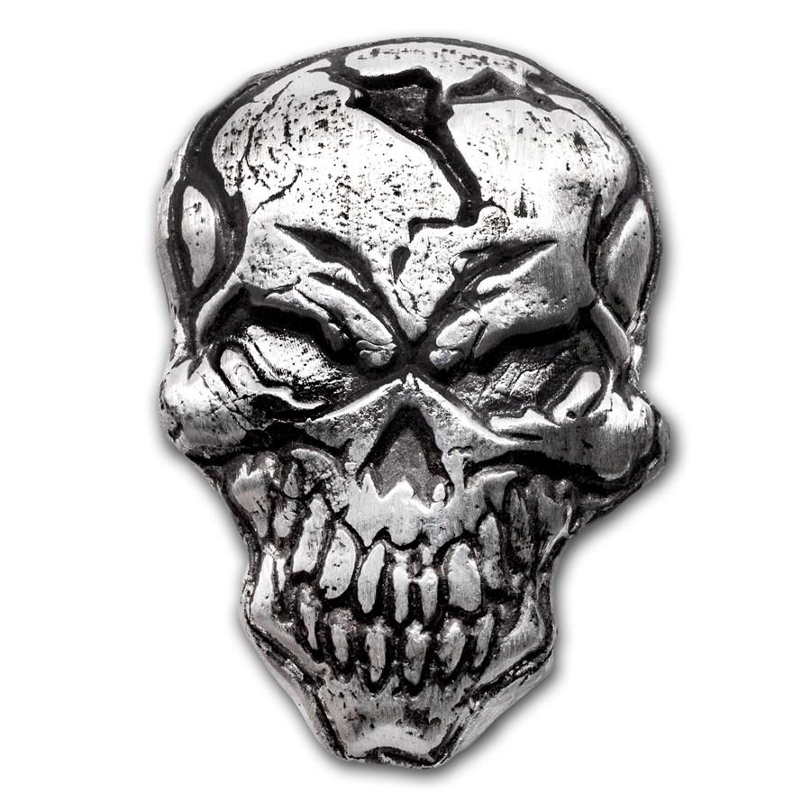 """3 oz Sølv Håndstøpt Hodeskalle """"Angry Skull"""" Limited EDT."""