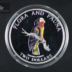 "1995 Bahamas 2 Dollar Sølv ""Bahama Parrot"" Proof"