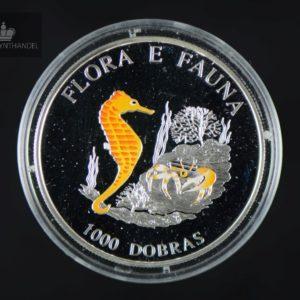 """1995 São Tomé og Príncipe 1000 Dobras Sølv """"Seahorse"""" Proof"""