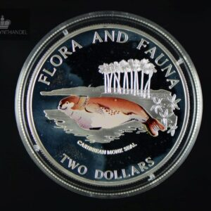 "1995 Bahamas 2 Dollar Sølv ""Caribbean Monk Seal"" Proof"