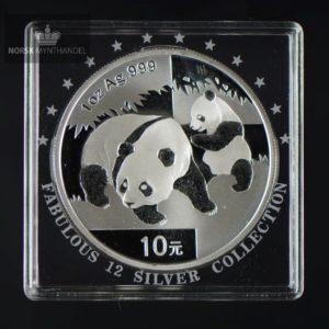 "2008 Kina 1 oz Sølv Panda BU ""Fabulous 12"""