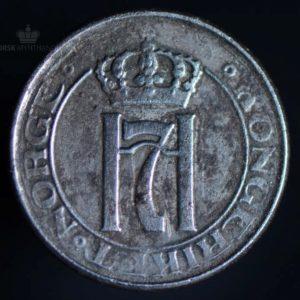 """1917 2 Øre Kv 1 Jern """"Dobbel strek Trikvetra"""""""