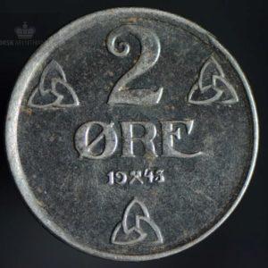 1945 2 Øre Kv 1+ Jern