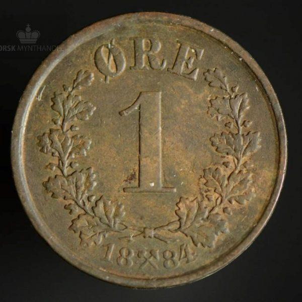 1884 1 Øre Kv 1/1+