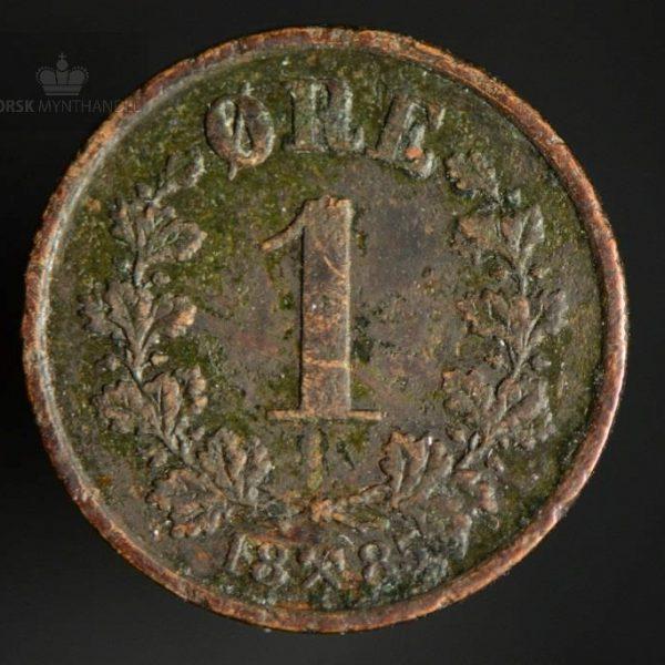 1885 1 Øre Kv 1/1+ Kanthakk/Smuss