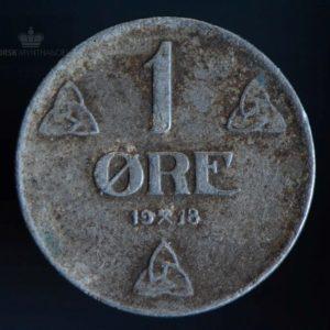 1918 1 Øre Kv 1