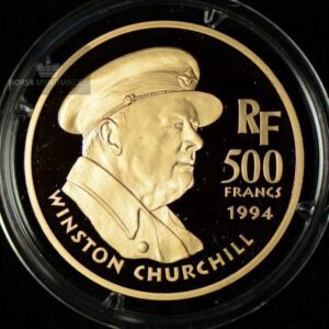 "1994 Frankrike 500 Francs ""Churchill"" Gullmynt Proof"