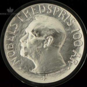 2001 100 Kroner 1 oz Sølv Nobels fredspris 100 år Proof U/Etui