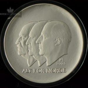 2003 100 Kroner Hundreårsmynten i Sølv Nr. 1 Proof U/Etui