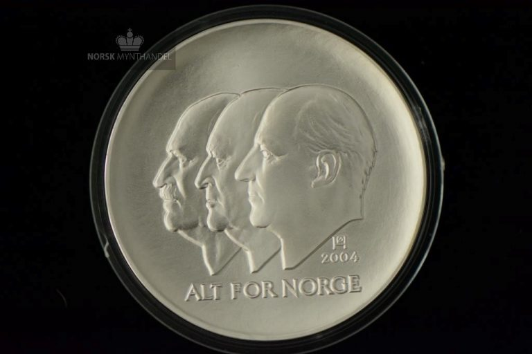 2004 100 Kroner Hundreårsmynten i Sølv Nr. 2 Proof U/Etui