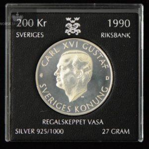"1990 Sverige 200 Kronor Sølvmynt ""Regalskeppet Vasa"""
