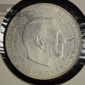 """1972 Danmark 10 Kroner Sølvmynt """"Tronskiftet"""" Kv 01"""