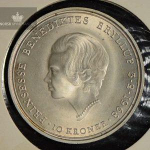 """1968 Danmark 10 Kroner Sølvmynt """"Bryllup"""" Kv 0"""